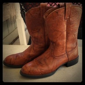 Ariat Cowgirl Boots Red Brown Leather EUC